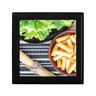 Top view of the ingredients for cooking food keepsake box