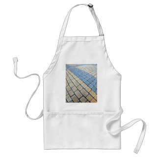 Top view of the pavement of rectangular stones adult apron