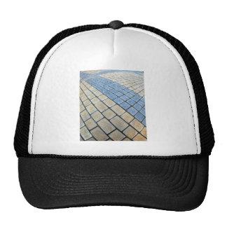 Top view of the pavement of rectangular stones trucker hat