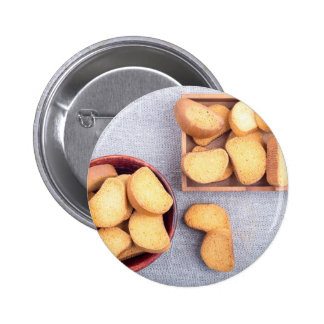 Top view of the pieces of dried bread button