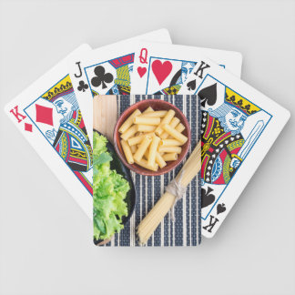 Top view of the spaghetti, pasta and lettuce bicycle playing cards