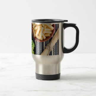 Top view of the spaghetti, pasta and lettuce travel mug