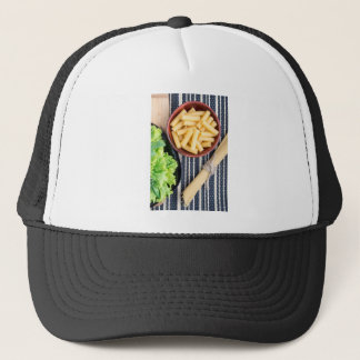 Top view of the spaghetti, pasta and lettuce trucker hat