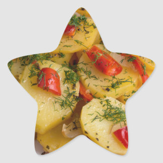 Top view of the vegetarian dish of organic star sticker