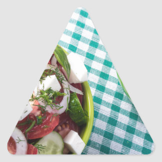 Top view of two bowls useful vegetarian meal close triangle sticker