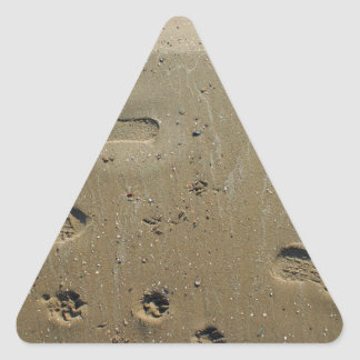 Top view of wet sand on the beach with tracks triangle sticker
