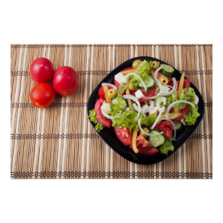 Top view on a healthy and natural vegetable salad poster