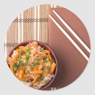 Top view on a portion of rice vermicelli hu-teu classic round sticker