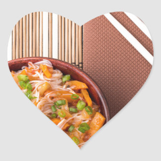Top view on a portion of rice vermicelli hu-teu heart sticker