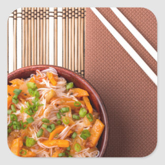 Top view on a portion of rice vermicelli hu-teu square sticker