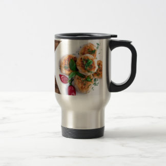 Top view on food made from natural ingredients travel mug