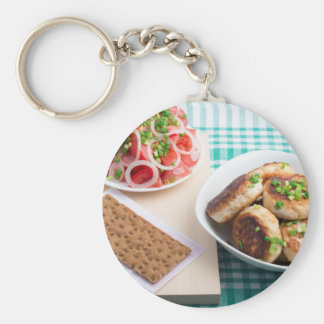 Top view on russian homemade lunch on a table keychain