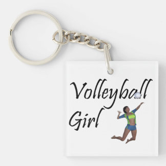 TOP Volleyball Girl Double-Sided Square Acrylic Keychain