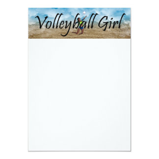 TOP Volleyball Girl 5x7 Paper Invitation Card