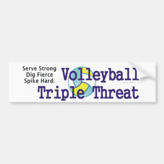 TOP Volleyball Triple Threat Car Bumper Sticker