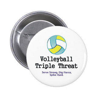 TOP Volleyball Triple Threat Pinback Button