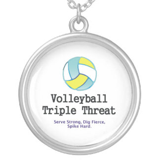 TOP Volleyball Triple Threat Silver Plated Necklace