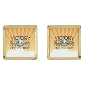 TOP Volleyball Victory Slogan Gold Cufflinks