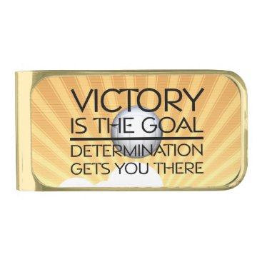 Beach Themed TOP Volleyball Victory Slogan Gold Finish Money Clip