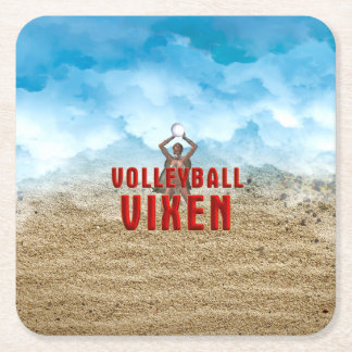 TOP Volleyball Vixen Square Paper Coaster
