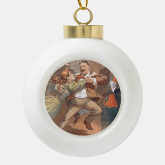 TOP Waltzing Old School Ceramic Ball Christmas Ornament