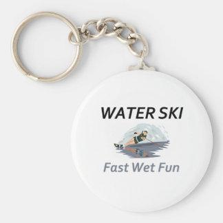 TOP Water Ski Basic Round Button Keychain