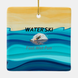 TOP Water Ski Ceramic Ornament