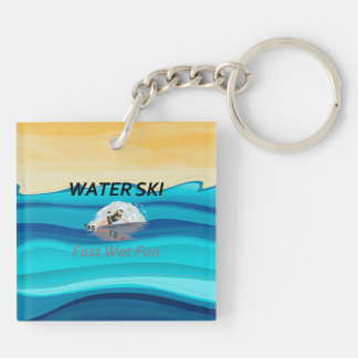 TOP Water Ski Double-Sided Square Acrylic Keychain