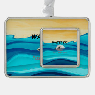 TOP Water Ski Silver Plated Framed Ornament