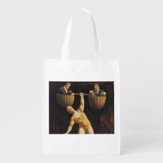 TOP Weightlifting Old School Reusable Grocery Bag