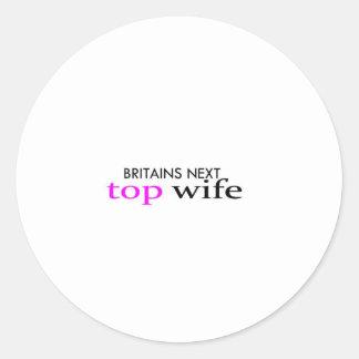 top wife classic round sticker
