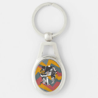 TOP Women's Volleyball Silver-Colored Oval Metal Keychain