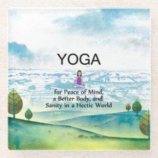 TOP Yoga Slogan Glass Coaster
