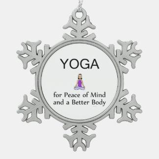 TOP Yoga Slogan Snowflake Pewter Christmas Ornament