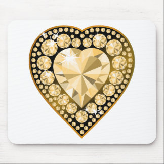 Topaz Gem Heart Mouse Pad