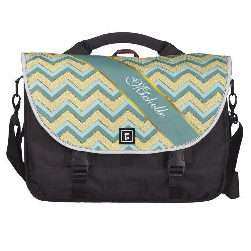 Topaz Glitter Chevron Pattern Bag For Laptop