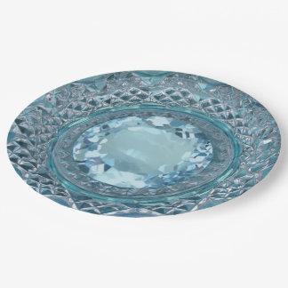 Topaz y cristal tallado azules platos de papel