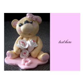 topcake teddy bear girl postcard