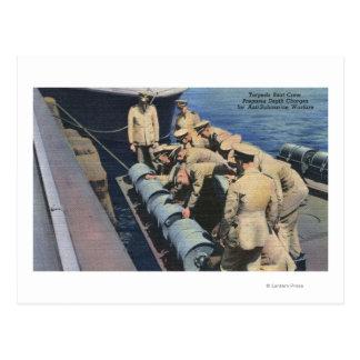 Topedo Boat Crew Prepares Depth Charge - US Navy Postcard