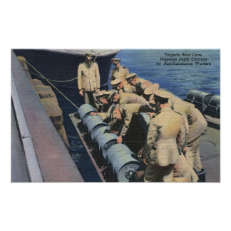 Topedo Boat Crew Prepares Depth Charge - US Navy Poster