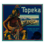 Topeka Brand Citrus Crate Label Poster