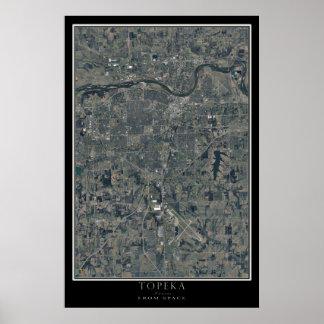 Topeka Kansas From Space Satellite Art Poster