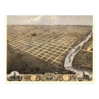 Topeka KS, 1869 Antique Panoramic Map Postcard