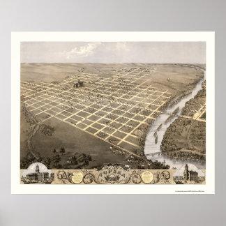 Topeka, mapa panorámico de KS - 1869 Póster