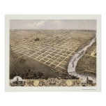 Topeka, mapa panorámico de KS - 1869 Posters