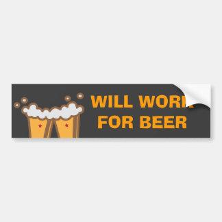 Topetón de la cerveza pegatina de parachoque