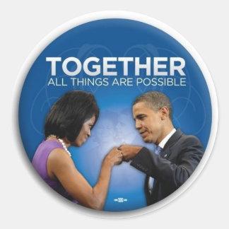 topetón del puño de obama etiqueta redonda