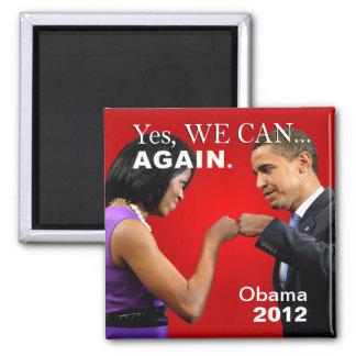 Topetón del puño de Obama - podemos sí otra vez Imán Cuadrado