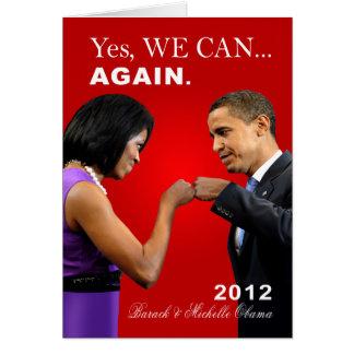 Topetón del puño de Obama - podemos sí, otra vez Tarjeta De Felicitación