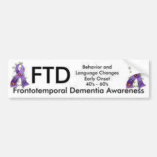 Topetón púrpura de la cinta de la demencia frontot pegatina para auto